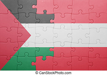 puzzle with the national flag of palestine and austria...