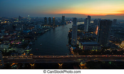 aerial view of bangkok sky scraper over chaopraya river in...