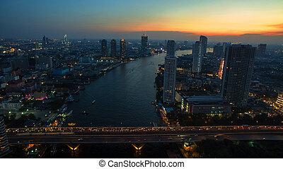 aerial view of bangkok sky scraper over chaopraya river in...