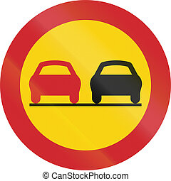 Road sign used in Sweden - No overtaking.