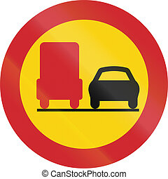 Road sign used in Sweden - No overtaking by lorries.