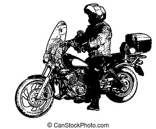 motorcyclist illustration - vector