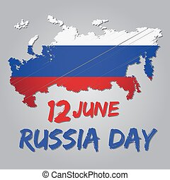 Russia National Day - Russia national day with flag and map...