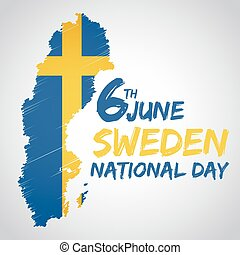 Sweden National Day - Sweden national day with flag and map...