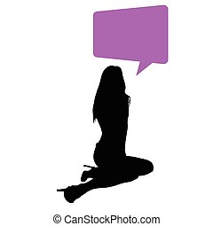 woman vector black silhouette with speech bubble