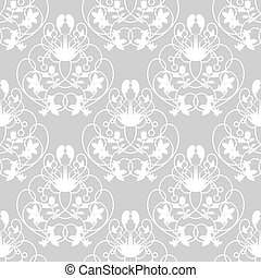 Elegant damask grey seamless vector background with delicate swirl
