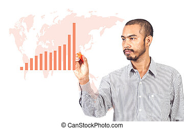 Business man writing graph with worldmap on white background...