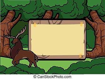deer forest scene with wood banner
