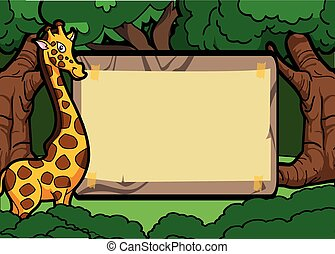 Girafe forest scene with wood