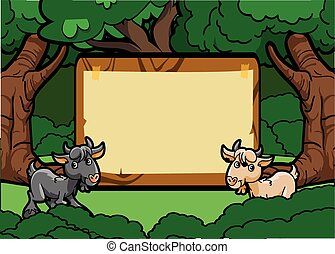 Goat forest scene with wood banner