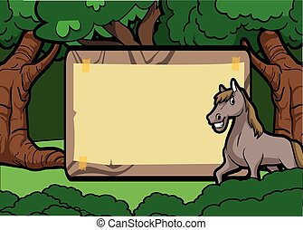 Horse forest scene with wood banner