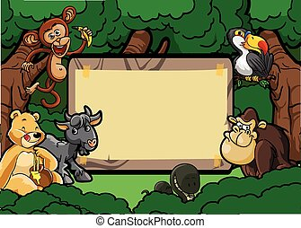 Wild animal group forest scene with