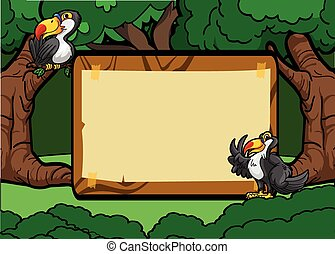 Toucan bird forest scene with wood