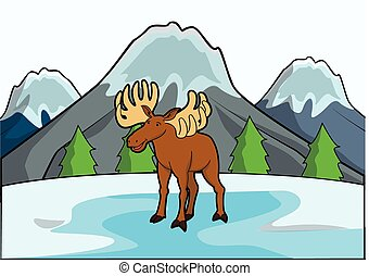 deer with ice mountain scene
