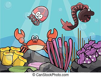 Jelly fish,eel and crab Underwater