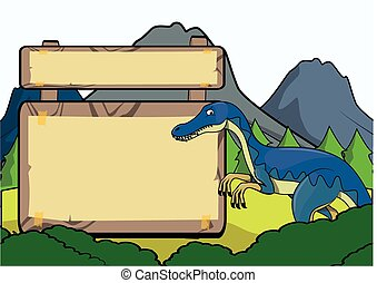 Prehistoric animal scene with blank