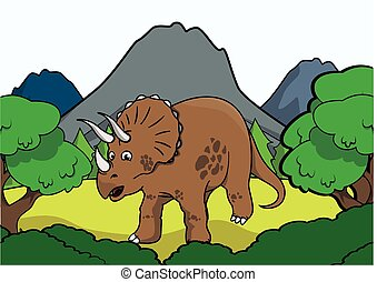triceratop Prehistoric scene