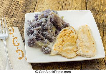 Turkey breast served with purple cauliflower