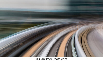 Abstract motion blur of subway inside tunnel