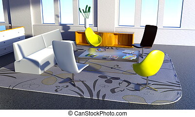Office space - 3D CG rendering of office space