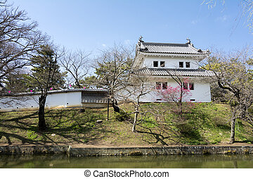 Turret of japanese castle with moat in Tsuchiura city