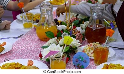 close-up of table with food cafe restaurant birthday fruit...