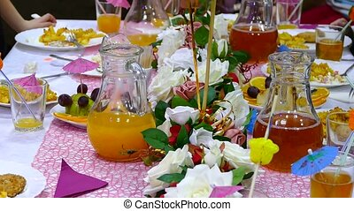 close-up of table with food restaurant birthday fruit juice...