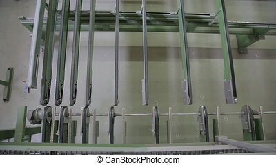 metal plastic window leaves the conveyor - The finished...