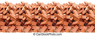 heap of red brick isolated