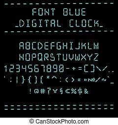 Font blue digital clock