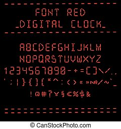 Font red digital clock