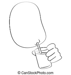 Drinking water - Black outline vector Drinking water on...