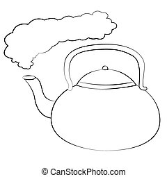 Kettle - Black outline vector kettle on white background.