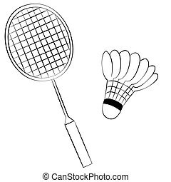 Badminton - Black outline vector Badminton on white...