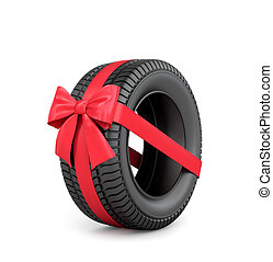 Rubber car tire with red ribbon and bow.