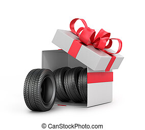 White Gift Box with car tires.