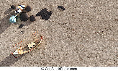 3d Sun and beach objects - Sun and beach objetcs in 3d and...