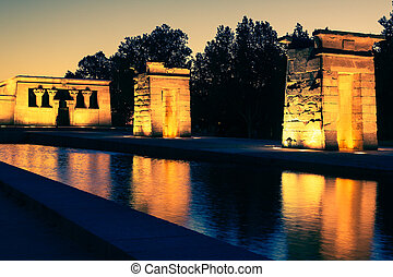 Temple of Debod at night, Madrid (Spain)
