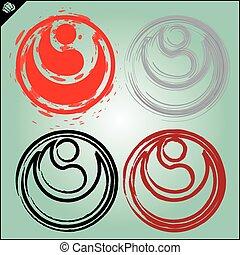 karate shikyokushinkai Kokoro kanji logo simbol design style