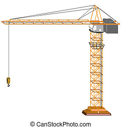 crane - tridimensional crane drawing, isolated on white...