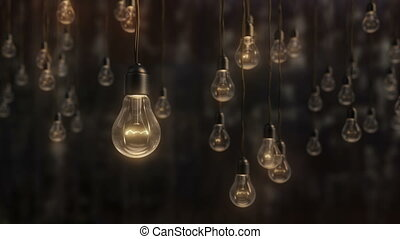 Beautiful edison style light bulbs against black wall...