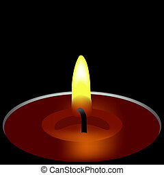 candle - one candle composition, abstract art illustration