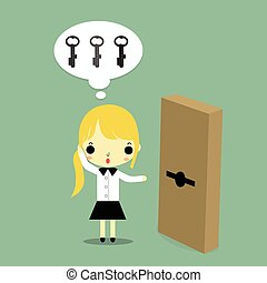 woman with key and door
