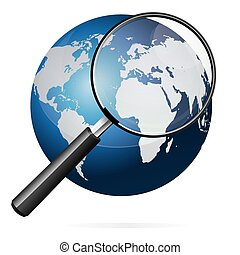 Earth and Magnifying Glass