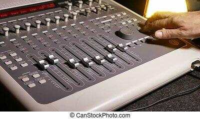 man brings music mixer music remote studio - brings music...