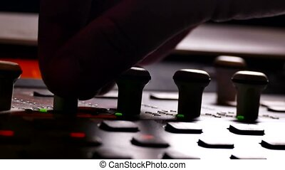 man musician brings music mixer music studio remote - man...