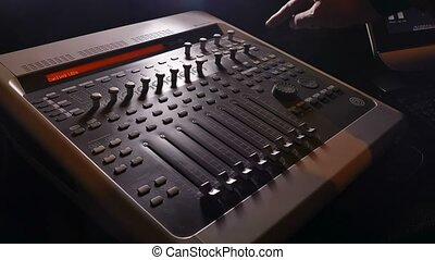 musician brings man music mixer music studio remote -...