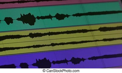 sound wave music chart on the monitor - sound wave music...