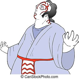 kabuki theater character - Creative design of kabuki theater...