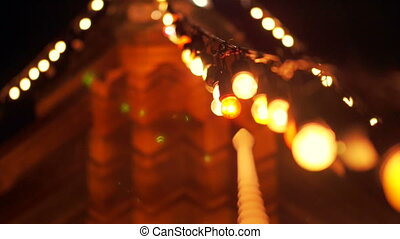 Festival light at Asian pagoda. Buddhist Religious day...